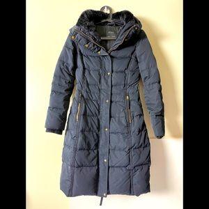 Zara Navy Waterproof Lined Long Puffer Jacket